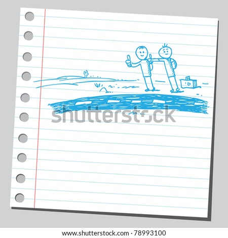 Sketch of a two hitchhikers - stock vector