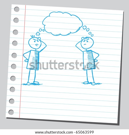 Sketch of a two men thinking