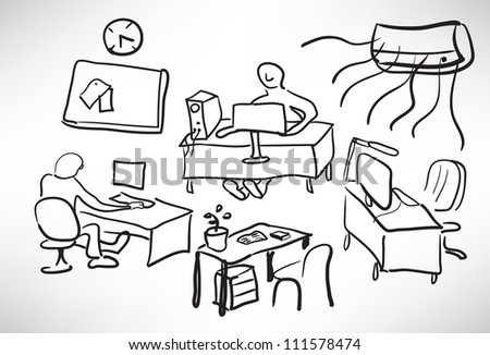 Sketch of a typical day at the office - stock vector