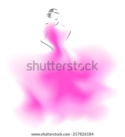 Sketch of a wedding fashion model. Vector illustration - stock vector