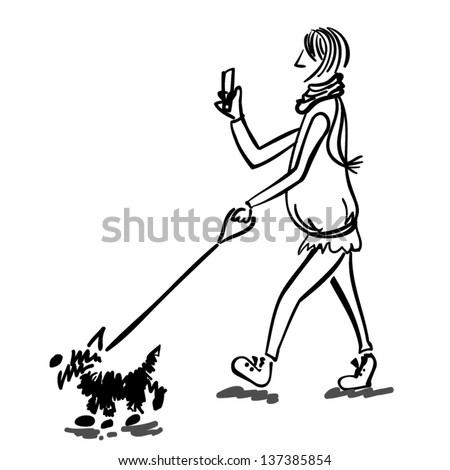 Sketch of a woman walking the dog, vector - stock vector