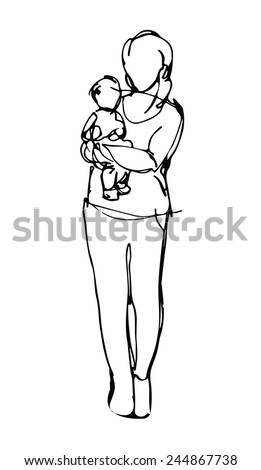 sketch of a woman with a baby in her arms standing straight - stock vector