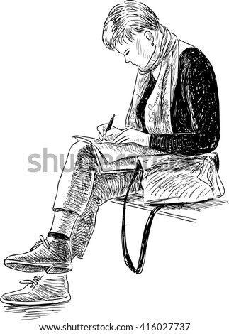 sketch of a writing woman