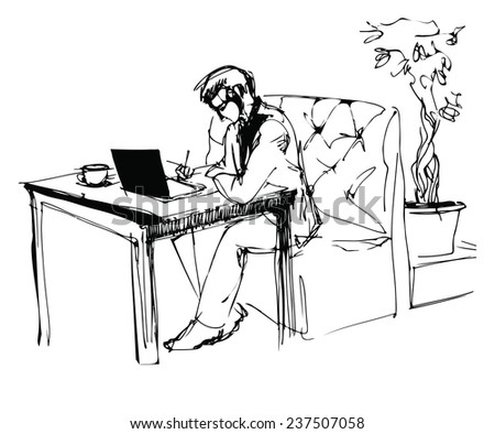 sketch of a young businessman working in a cafe - stock vector