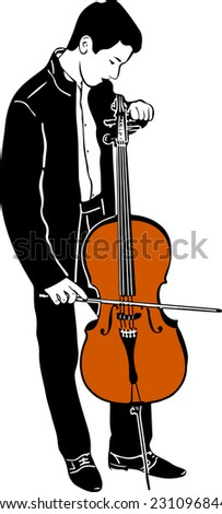 sketch of a young male musician tuning cello - stock vector