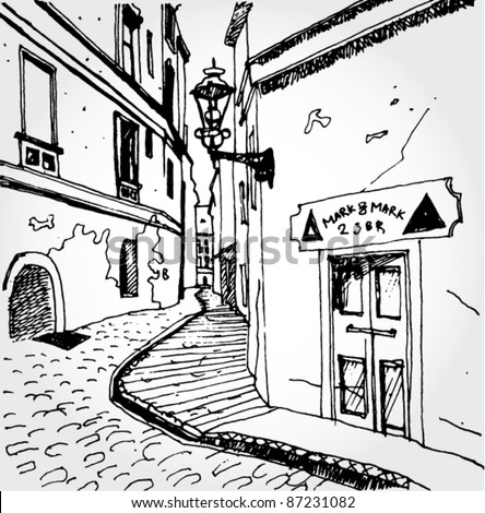 Sketch of an Old Street - stock vector