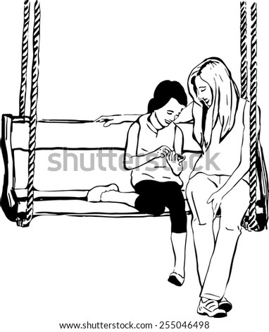 sketch of an older sister to her younger sister on a wooden swing - stock vector
