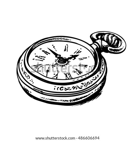 grandfather watch drawing. sketch of ancient pocket watch black and white hand drawn vector illustration isolated on grandfather drawing