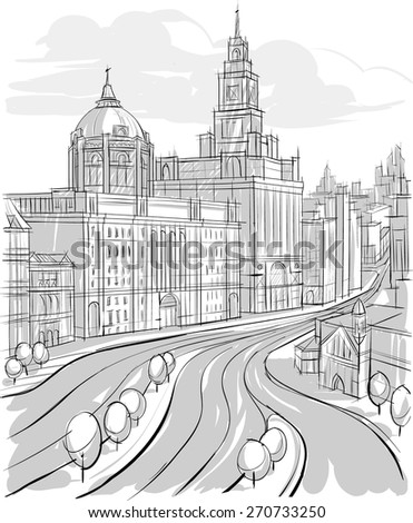 Sketch of Architecture. city landscape. Buildings - stock vector