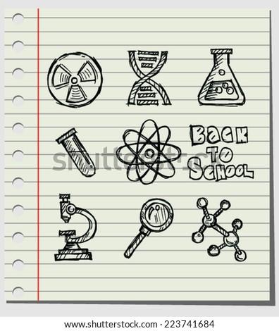 sketch of  back to school, vector illustration.  - stock vector
