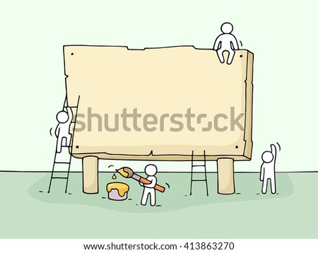 Sketch of blank board with working little people. Doodle cute miniature teamwork. Hand drawn cartoon vector illustration for your text. - stock vector