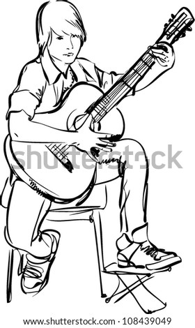 Sketch Of Boy Playing On The Guitar White Background
