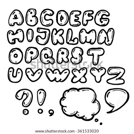 sketch of bubble alphabet