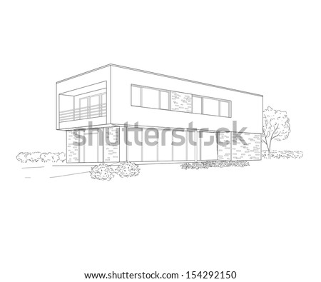sketch of building - stock vector