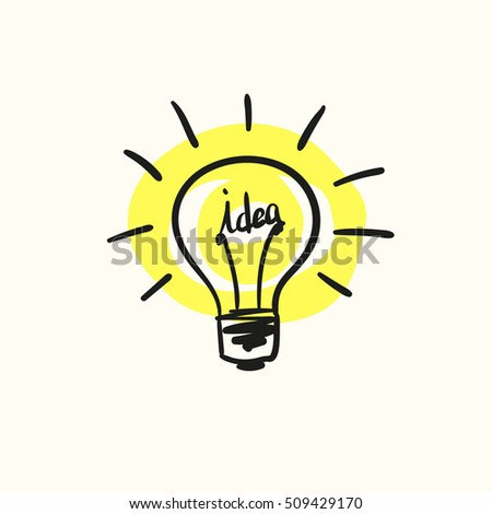 Sketch of bulb icon with idea concept, Hand drawn vector illustration