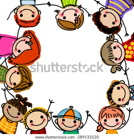 Sketch of children and frame - stock vector