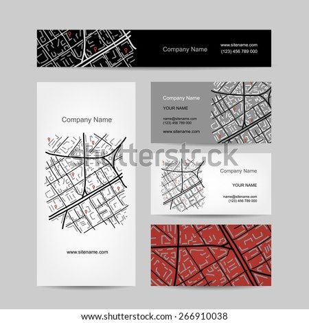 Sketch of city map, business card design. Vector illustration - stock vector