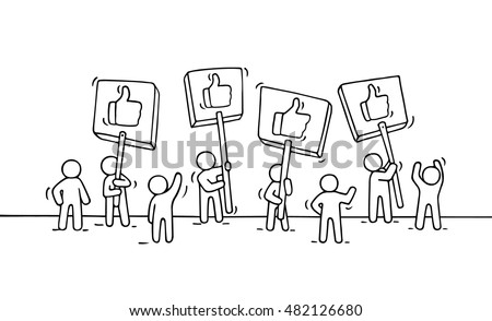 Sketch of crowd little people with like symbols. Doodle cute miniature scene of workers with placards. Hand drawn cartoon vector illustration for business and internet design.