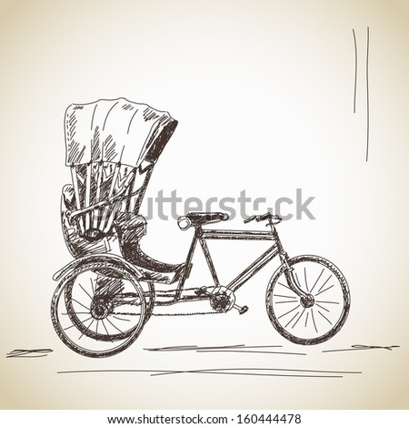 Sketch of cycle rickshaw - stock vector
