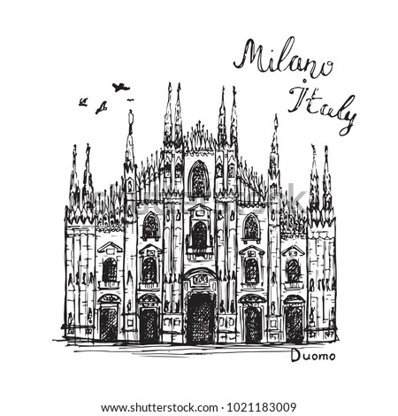 Sketch Of Duomo Church In Milan City Drawing Italy Famous Cathedral