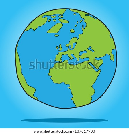 Sketch of Earth on blue background