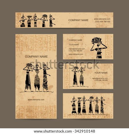 Sketch of egypt women with jugs. Business cards design, vector illustration
