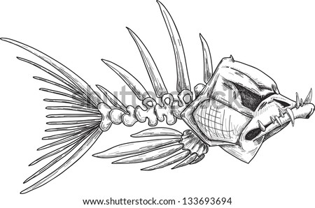 Sketches Pictures of Skeletons Sketch of Evil Skeleton Fish