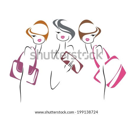 Sketch of fashionable women with bags - stock vector