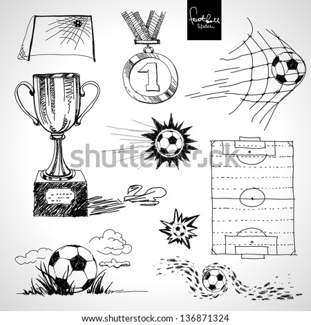Sketch of football elements - stock vector