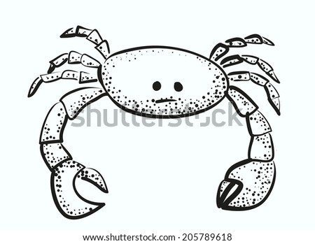 sketch of funny little crab vector illustration - stock vector