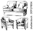 sketch of furniture - stock vector