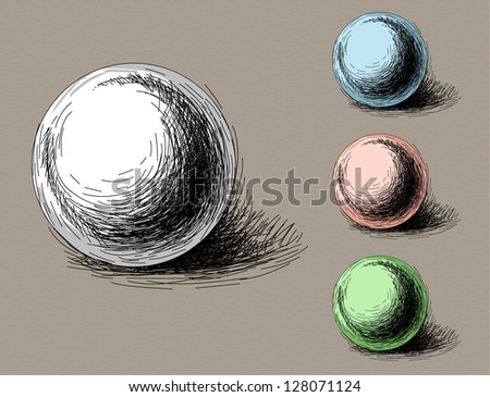 sketch of geometric object (sphere) - stock vector