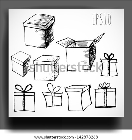 Sketch of gift boxes. Vector illustration. - stock vector