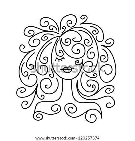 Sketch of girl portrait for your design - stock vector