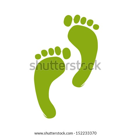 Sketch of green footprint for your design - stock vector