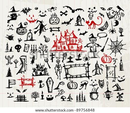 Sketch of halloween design elements - stock vector