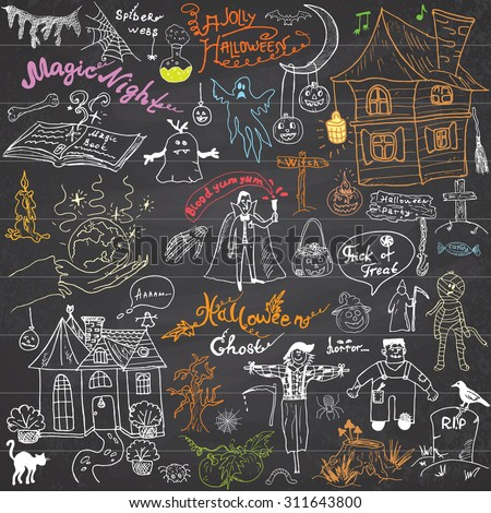 Sketch of halloween design elements with pumpkin, witch, cat, ghost, skull, bats, spiders with web. Doodles set with Lettering, Hand-Drawn Vector Illustration on chalkboard background - stock vector