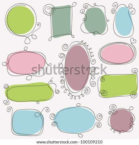 Sketch of hand drawing frames. Vector design elements - stock vector