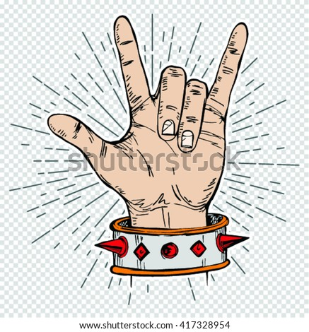 sketch of  hand sign rock n roll music, vector illustration