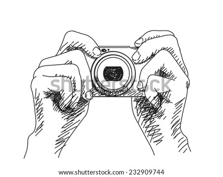 Sketch of hands holding compact photo camera, Hand drawn illustration Vector