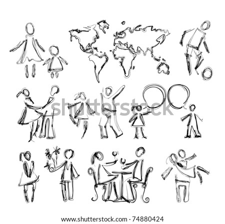 sketch of happy abstract people in different situations - stock vector
