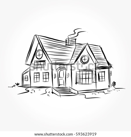 Sketch of house architecture drawing free hand