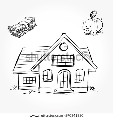 Sketch house architecture drawing free hand stock vector 590341850 shutterstock Draw your house