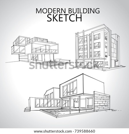 architecture drawing. Contemporary Architecture Sketch Of House Architecture Drawing Free Hand Residence On Architecture Drawing