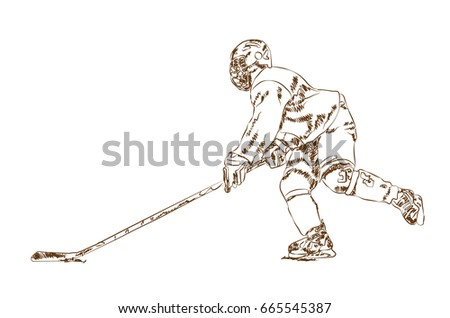 Sketch of ice hockey player in vector illustration.