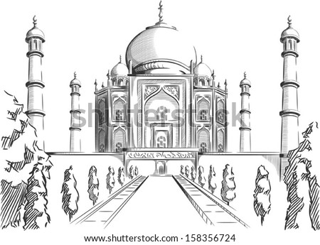 Sketch of India Landmark - Taj Mahal  - stock vector