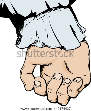 Sketch of inside of partially open human hand sticking out of frilled sleeve holding something