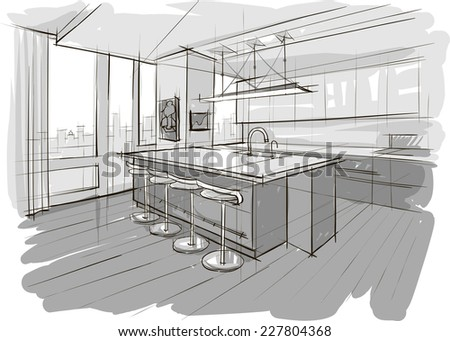 Sketch of interior - stock vector
