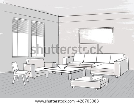 Sketch Of Interior Beautiful Room Living Furniture