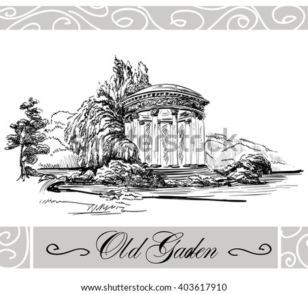 Sketch of landscape with bower in old garden in toile de jouy black and white with net frame